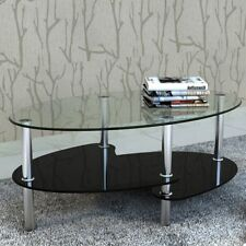 White/Black Coffee Table Side Dinner Bedside Glass Top 3 Layer Shelf Living Room