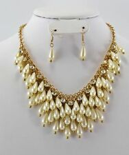 High End Gold Multi Chain Faux Pearl Charm Statement Necklace Earring Set #47