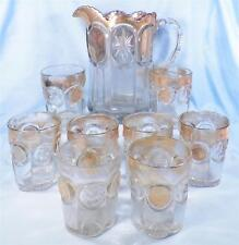 Knobby Bulls Eye Water Set U S Glass Antique Cromwell Gilt EAPG 1915 9 Pc 15155