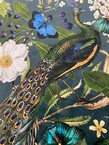 Paradise Peacock Velvet Teal Blues  Super Soft   Curtain/Upholstery Fabric
