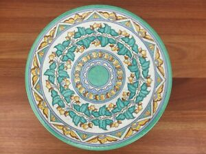 """Vintage Wood's Arabesque by CHARLOTTE RHEAD 370mm (14.5"""") Charger Green Yellow"""