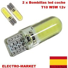 2 x Bombillas led  coche T10 W5W 168 194 Gel de Sílice COB LED 12v BLANCO