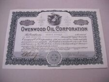 "VINTAGE 1921 100 SHARE STOCK CERTIFICATE FOR THE ""OWENWOOD OIL CORPORATION""!"