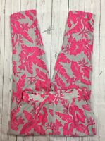 NWT Women's H&M Gray and Pink Floral Pleated Flowy Ankle Pants-Size 8