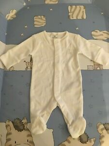 NEXT baby white sleepsuit romper babygrow tiny early first size newborn new A