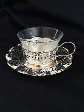 6 Silver Plated Tea/Coffee Holders w/Glass Inserts &Floral Design Plate B.M.F.