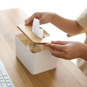 Home Kitchen Wooden Plastic Tissue Box Solid Wood Napkin Holder Case Storage jb