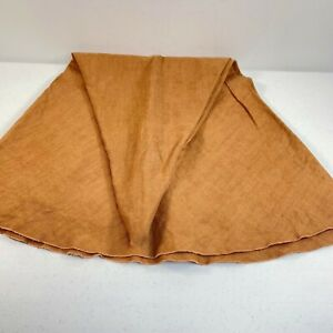 """vintage tablecloth round solid brown linen 68"""" retro boho chic classic"""