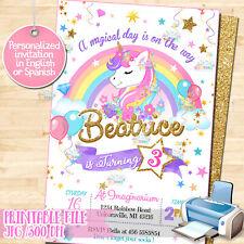 Printable Unicorn Birthday Party invitation