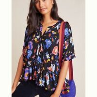 Anthropologie Women's Black Floral Print Button Up Blouse Top Size Small