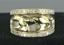 $2,850 14K Solid Yellow Gold Round Diamond Panther Cocktail Ring Band Size 6.25