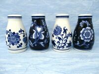 Pier 1 Salt and Pepper Shakers Mandarin Blue and White set of four