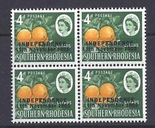 RHODESIA, 1966  INDEPENDENCE, 4d CITRUS,  SG 363, MNH BLOCK 4