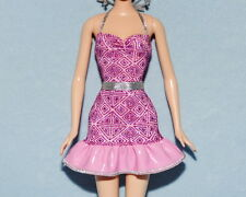 SPECTACULAR Pink & Purple -Silver Accents Genuine BARBIE Sleeveless Summer Dress