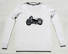VOLCOM Women Cotton Sweater Knit ScoopNeck Long Sleeve Pullover White Motorcycle
