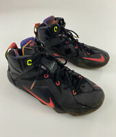 Youth Nike Lebron Xll Data Black Hyper Punch Sneakers Size 6.5Y 685181-002