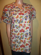 RMF SCRUBS HEARTS SCRUB TOP VALENTINES LARGE NEW