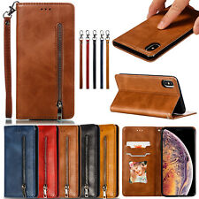 Classic Flip Magnetic PU Leather Zipper Wallet Stand Lot Card Pocket Case Cover