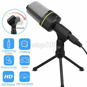 Microphone With Mini Stand Tripod Audio Recording For Computer PC Phone Deskto