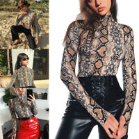 Fashion Women's Serpentine Print Shirt Long Sleeve Jumper Turtleneck Blouse Tops