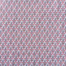 Cotton Quilting Craft Sewing Fabric Symbolic  Flower Spot Birds Grey Pink