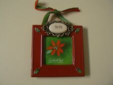 """Grasslands Road Son Ceramic Picture Frame that Holds 3"""" x 3"""" Photo Red Gift"""