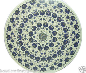 """24"""" White Marble Coffee Table Lapis Floral Inlay Marquetry Handmade Decors H2314"""