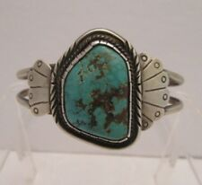 NAVAJO STERLING SILVER BRACELET with FABULOUS LARGE TURQUOISE STONE, SIGNED