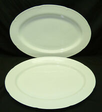 """2 Block Spal Classic White 15 1/2"""" Oval Serving Platters Gerald Gulotta Embossed"""