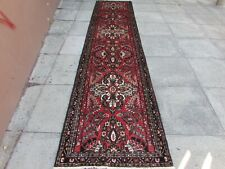 Vintage Traditional Hand Made Oriental Red Blue Wool Long Narrow Runner 398x89cm