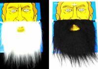 WHITE FAKE BEARD joke face hair costume dressup beards mens boys trick halloween