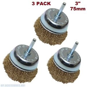 3 x 75mm Heavy Duty Brass Steel Plated Wire Wheel Cup Brush Bowl Power Drill