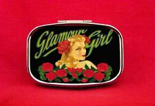GLAMOUR GIRL PIN UP ROSES METAL PILL MINT BOX CASE