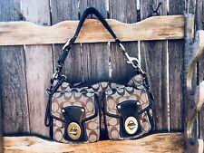 COACH 10339 LEGACY SIGNATURE Brown Black TURN LOCK Satchel Bag Handbag Purse