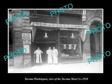 OLD LARGE HISTORIC PHOTO OF TACOMA WASHINGTON, THE TACOMA MEAT Co STORE c1910