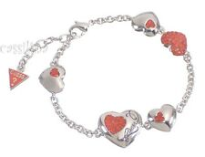Guess Silver Heart Bracelet Red UBB12013 Valentines Day Gift Jewelry