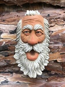 Wood Spirit Wizard  Ooak  Balding Old Man white Beard  Scott Longpre Originals