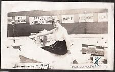 VINTAGE 1917 NEWARK NEW JERSEY LADY POSING BY LUMBER ADVERTISING SIGNS OLD PHOTO