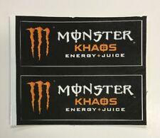 Monster Energy + Juice Drink KHAOS Stickers (2) Unused NOS