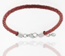 Bracelet IN Red Real Leather Braided Flechtkordel 3,5 MM STORCH SCHMUCK Germany