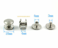 20 Set 10*4mm 304 Stainless Steel Rivet Chicago Screw for Leather Craft Cambered