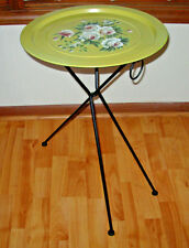 "Vtg French Floral Design Cafe Bistro 3-leg Folding Round Metal Accent Table 16"""