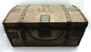 Early 19th Cent Animal Hide Wrap Small Barrel Top Treasure Chest Steamer Trunk