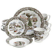 16 Piece Beautiful Christmas Toile Ceramic Dinnerware Set for Winter Gatherings