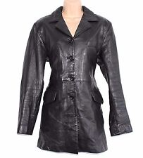 VTG Black 100% Real Leather AXIOM Fitted Ladies Blazer Jacket Coat Size L Rock