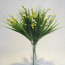 Set of 3 Artificial Sword Grass Bushes With Yellow Gypsophila - 30 cm Flower