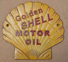 attractive Golden Shell MOTOR OIL Sign metal not enamel