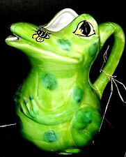 FROG PITCHER BY PRESENT TENSE ** ANNE HATHAWAY ** HAND PAINTED IN ITALY **