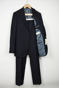 SUITSUPPLY LAZIO SINGLE BREASTED Men UK42L Pure Wool Blue 2-Piece Suit 17407