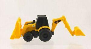 "Plastic Toy CAT Back Loader Bulldozer 4"" Long Construction Vehicle Yellow"